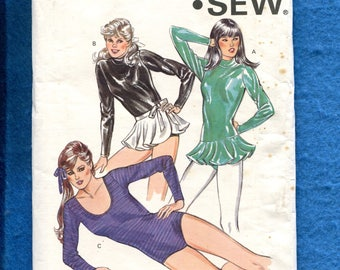 Vintage 1980s Kwik Sew 1301 Dance & Ice Skating Outfits and Leotard  Sizes 8 to 20 UNCUT