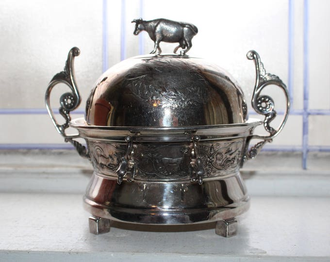 Silverplate Butter Dish with Cow Finial Antique 1800s E G Webster