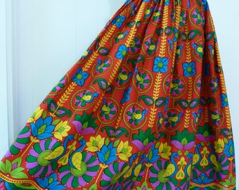 60's Peacock Novelty Print Skirt Vibrant Colorful Folk Art Cotton Full Skirt L XL