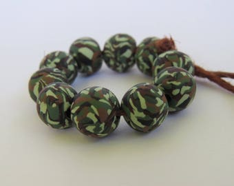 Camouflage beads, Handmade beads, Army camo beads, Round bead, Jewelry Supply, Veterans, Military, Unique beads, Shygar beads, 10 pieces