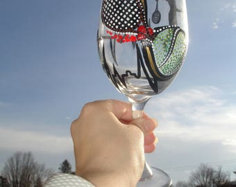 Hand painted tennis player wine glass