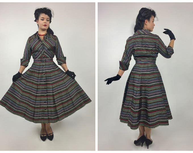 1950's New Look Striped Brocade Shirtwaist Dress - Very Dior in Design - Full Skirt - Pinched In Waist - Rounded Shoulders - Ladies 6 to 8