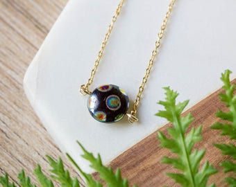Delicate gold necklace with pendant charm | Black metallic Czech glass bead | Gold plated layering necklace | Gifts for her under 20 |