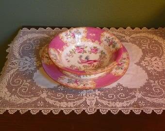 Victorian antique Minton COAKATRICE Plate Bowl Pink  England Vase Bone china Porcelain globe
