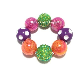 Toddler or Girls Halloween Chunky Bracelet - Green, Orange, Purple, Pink Bracelet - Pumpkin Chunky Bracelet - Fall Rainbow Bracelet