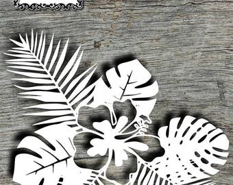 Hibiscus Papercut Template (commercial use)