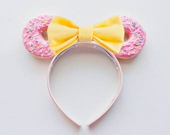 Pink Disney Ears / Pink Mickey Ears / Simpsons Donut / Minnie Mouse Ears / Minnie Ears / Donut Theme / Birthday Gift / Gift for her
