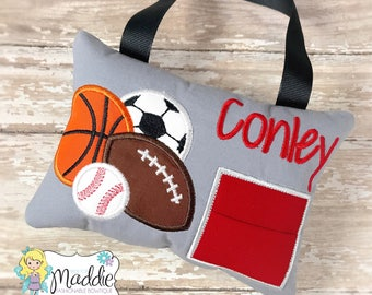 Sports Tooth Fairy Pillow, Boy Sports Tooth Fairy Pillow, Sports Tooth Pillow, Soccer, Football, Baseball, Basketball, Tooth Fairy Pillow Bo
