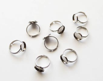 50 Silver Rings - WHOLESALE - Holds 12mm Cabochon - Antique Silver - Adjustable -  Ships IMMEDIATELY from California - A561b