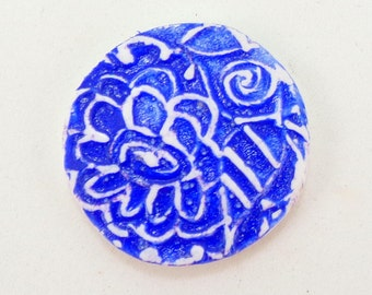 StudioStJames Handcrafted Polymer Clay 32mm Organic Rustic Cabochon-Faux Ceramic Lapis Blue White Bead-PA 100555