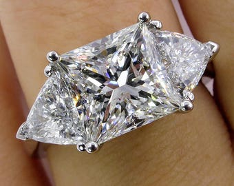 3.88ct Estate Vintage PRINCESS Cut Diamond 3 stone ENGAGEMENT Wedding Platinum Ring