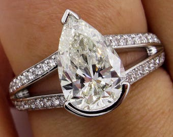 GIA 2.68ct Vintage PEAR Shaped Diamond Engagement Wedding Pave Platinum Ring