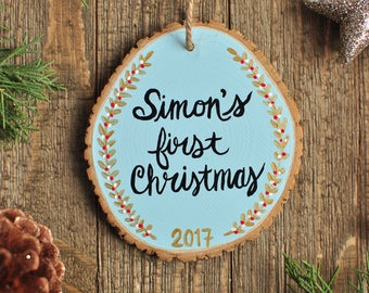 Baby's First Christmas Ornament, Personalized Baby Ornament, Baby 1st Christmas, Custom Baby Boy Ornament, christmas gift for new baby boy