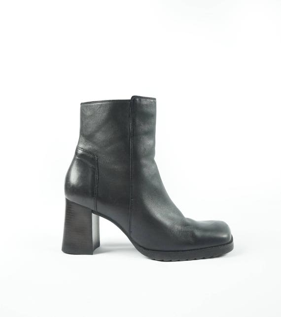 Mid 90s X-File Boot Low Tread Platform Ankle Boots Black