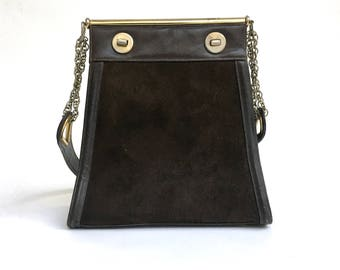 Brown Leather & Suede Purse   Zenith   1960s