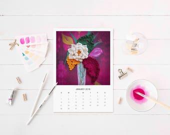 "2018 Desktop Art Calendar, 5"" x 7"" Separate Pages Showing Original Paintings on Each Month"