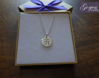 R Initial Silver Pendant Necklace