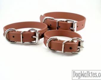 "Milk Chocolate Brown Biothane Dog Collar - 5/8"" (16mm) wide - Leather Look and Feel - Small Dog Collar - Stainless Steel or Brass Hardware"