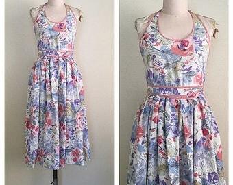 Jardin de fleurs dress | vintage 1970s wrap dress | 70s floral halter neck dress | s - m