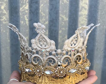 Queen Crown, Gold Crown, Crowns and Tiaras, Crown Headband, Lace Crown, Wedding Crown, Hair Acessory,
