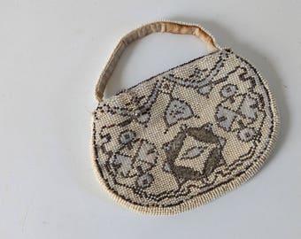 Vintage 1930s Art Deco white beaded evening purse bag