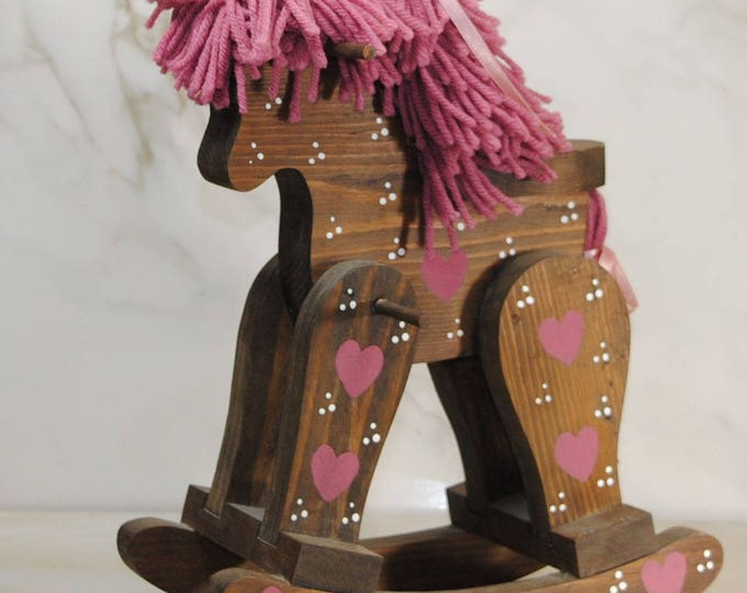 Vintage Horse Rocking Chair, Doll Size, Handcrafted, Solid Wood Toy, Children's Toy, Doll Accessory, Hand Painted, Ribbon Hair, Pink