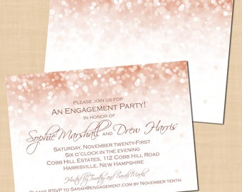 Rose Gold Sparkles Engagement Party Invitations (7x5, Landscape): Text-Editable in Microsoft® Word, Printable Instant Download