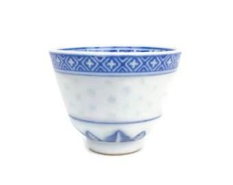 Vintage Chinese Rice Porcelain Blue and White Rice Eyes Translucent Bowl Dragon Design Embossed Rice Pattern Sauce Dip Dish Trinket Holder