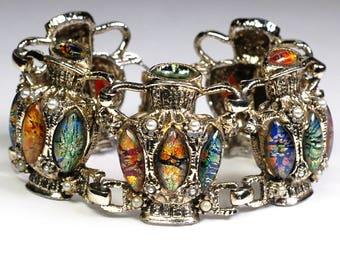 Egyptian Foiled Art Glass Urn Figural Bracelet