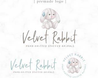 Premade Logo - Watercolor Bunny Children's Logo - Boutique - Photography - Handmade Shop - Prop Shop Logo - Knitting - Sewing - Logo Design