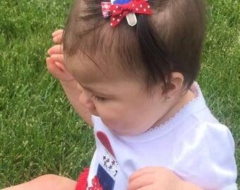 july fourth hair clip, july fourth hair bow, fourth of july hair bow, july 4th bow, baby clippie, Popsicle clippie, lemonade clippie bow