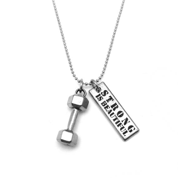 Weight Loss Journey - Barbell Gift - Strong is Beautiful Dumbbell Necklace - Diet Motivation - Weight Motivation - Fitness Motivation