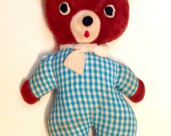 Vintage stuffed bear with gingham fabric body