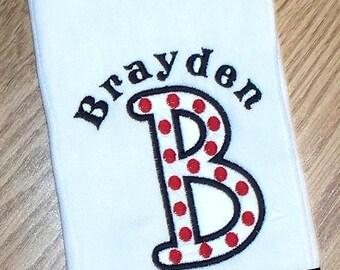 Baby Boy Monogrammed Polka Dot Burp Cloth Personalized