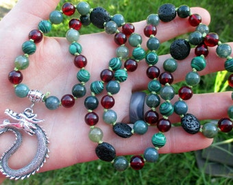 Dragon Spirit Pagan Prayer Beads with Malachite, Moss Agate, Amber, & Black Lava Stone / 72 Mala / Devotional Necklace