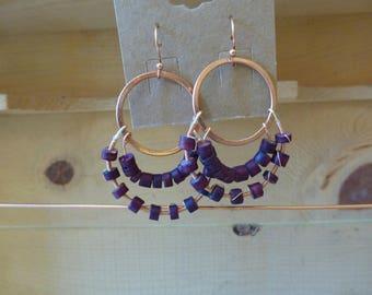 Purple coconut bead earrings