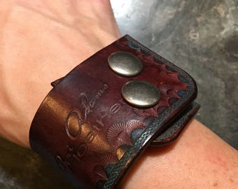 Stamped Wine colored Leather Cuff