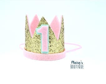 First Birthday Crown/ Glitter Gold Pink and Mint Glitter Crown/ Mermaid Crown/ Girl Birthday Crown/ Birthday Outfit/ Cake Smash/ Unicorn