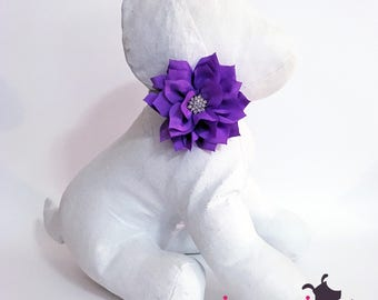 3 inch Purple RHINESTONE Lotus Flower Collar Accessory