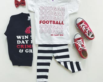 WSU COUGAR FOOTBALL - White Kid's T-Shirt