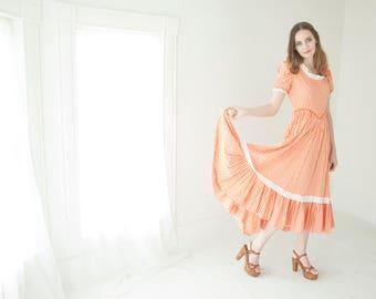 Vintage orange frontier dress, gingham prairie old fashioned boho long midi cotton, Oklahoma S