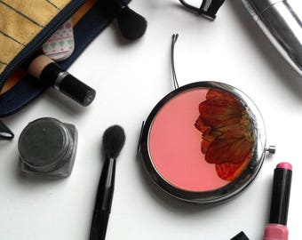 Pink Makeup Mirror, round compact mirror with real flowers, girlfriend gift,