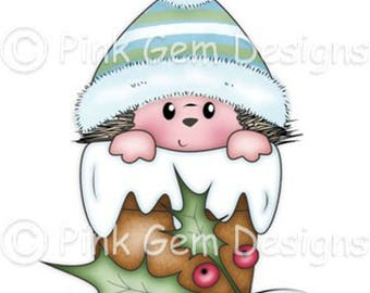 Digital Download Digi Stamp  Hedgy in Hat - Christmas Hedgehog - Makes Cute Christmas Cards