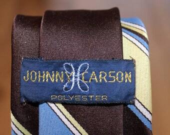 1970s / 80s Vintage Johnny Carson Mens' Slim Tie - Brown/Blue/Yellow