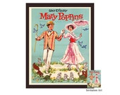 Mary Poppins Retro Art Print Remastered Paper Doll Cover Vintage Disney Movie 1973 Digital Download Whimsical Home Decor / Nursery Art