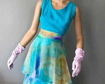 Lovely vintage Miss Elliette 60's pastel voile dress, party, wedding, formal-Medium