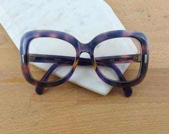 HUGE Oversized Purple Plastic Eyeglasses Frames, Vintage Thick Heavy Glasses, Plastic Frames, Sol Solvis