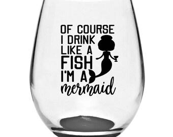 Mermaid Stemless Wine Glass | Mermaid Wine Glass | Stemless Glass | Stemless Wine Glass | I'm A Mermaid | Wine Gifts | Mermaid Gifts