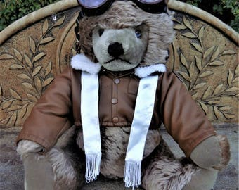 Sale-Large Steiff Pilot Aviator Original Teddy Bear Flyer ID 1968 MINT 51cm Handmade Collectible  5x Jointed Toy US Air Force Military