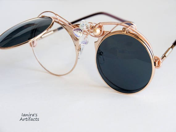 Rose gold Wire wrapped round sunglasses Decorated Steampunk Party Festival Eyewear retro Hippie gift for women Boho Summer accessories